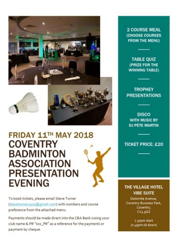 Coventry Dinner Dance & Annual Presentation 2018